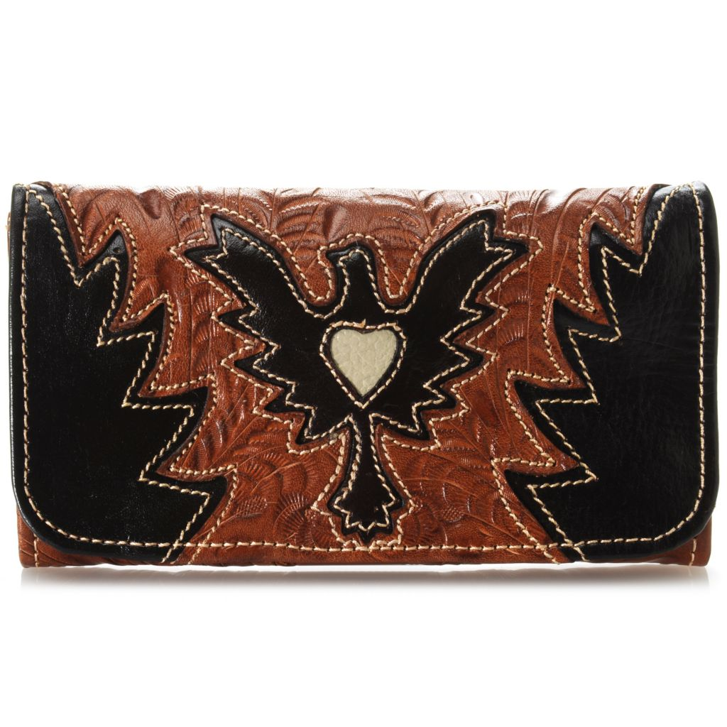 716-111 - American West Hand-Tooled Leather Heart Cut-out Tri-Fold Wallet