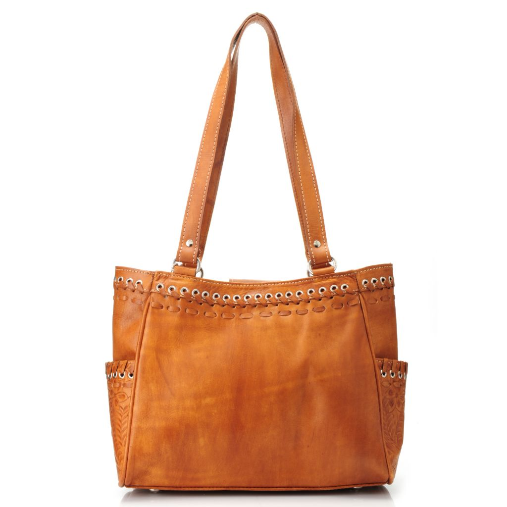 716-112 - American West Hand-Tooled Leather Multi Compartment Tote Bag