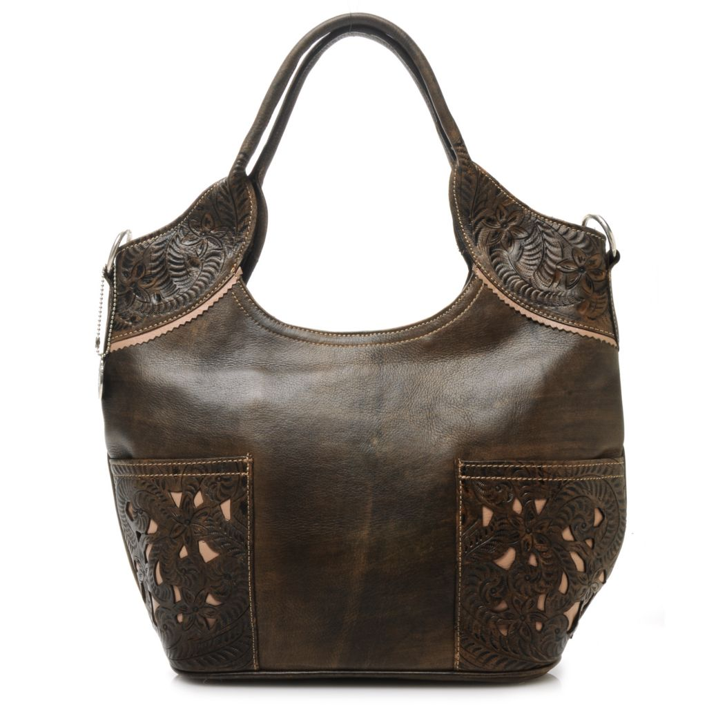 716-113 - American West Hand-Tooled Leather Scoop Top Laser Cut Tote Bag w/ Shoulder Strap