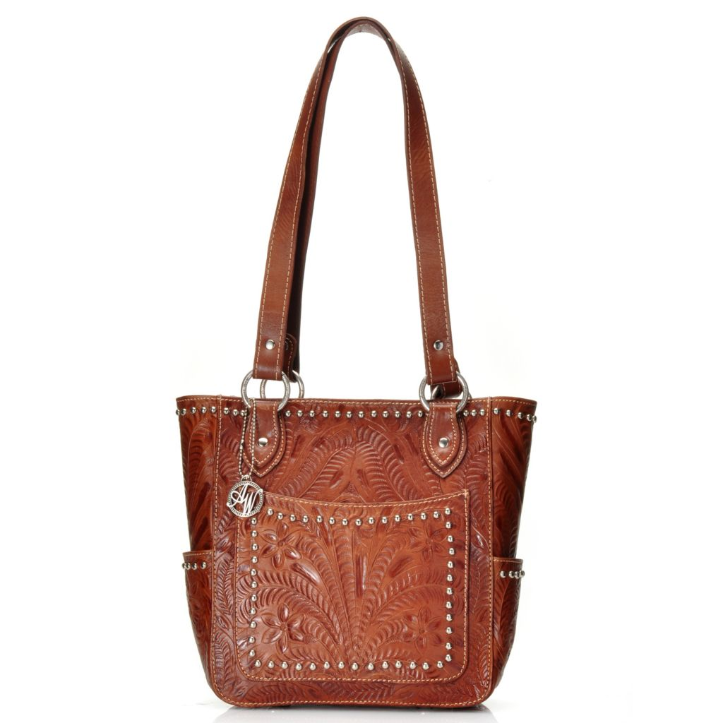 716-115 - American West Hand-Tooled Leather Double Handle Studded Zip Top Tote Bag