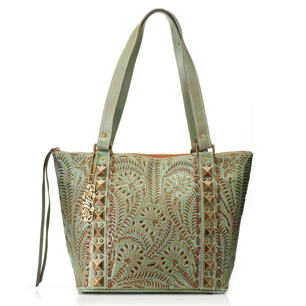 716-116 - American West Hand-Tooled Leather Zip Top Pyramid Studded Bucket Tote Bag