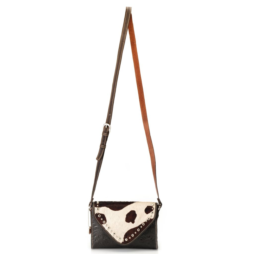 716-117 - American West Hand-Tooled Leather & Cowhide Envelope Flap Cross Body Bag