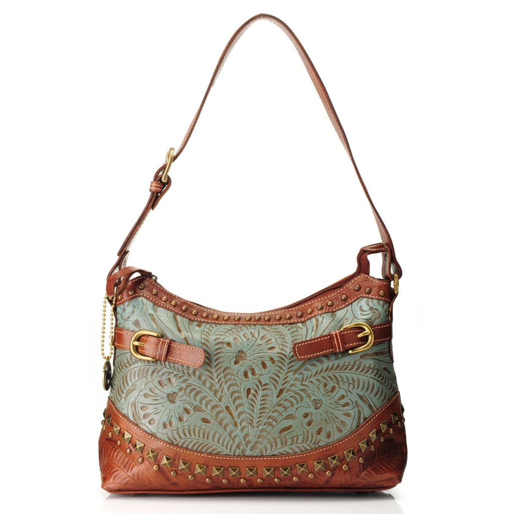 716-118 - American West Hand-Tooled Leather Zip Top Studded Shoulder Bag