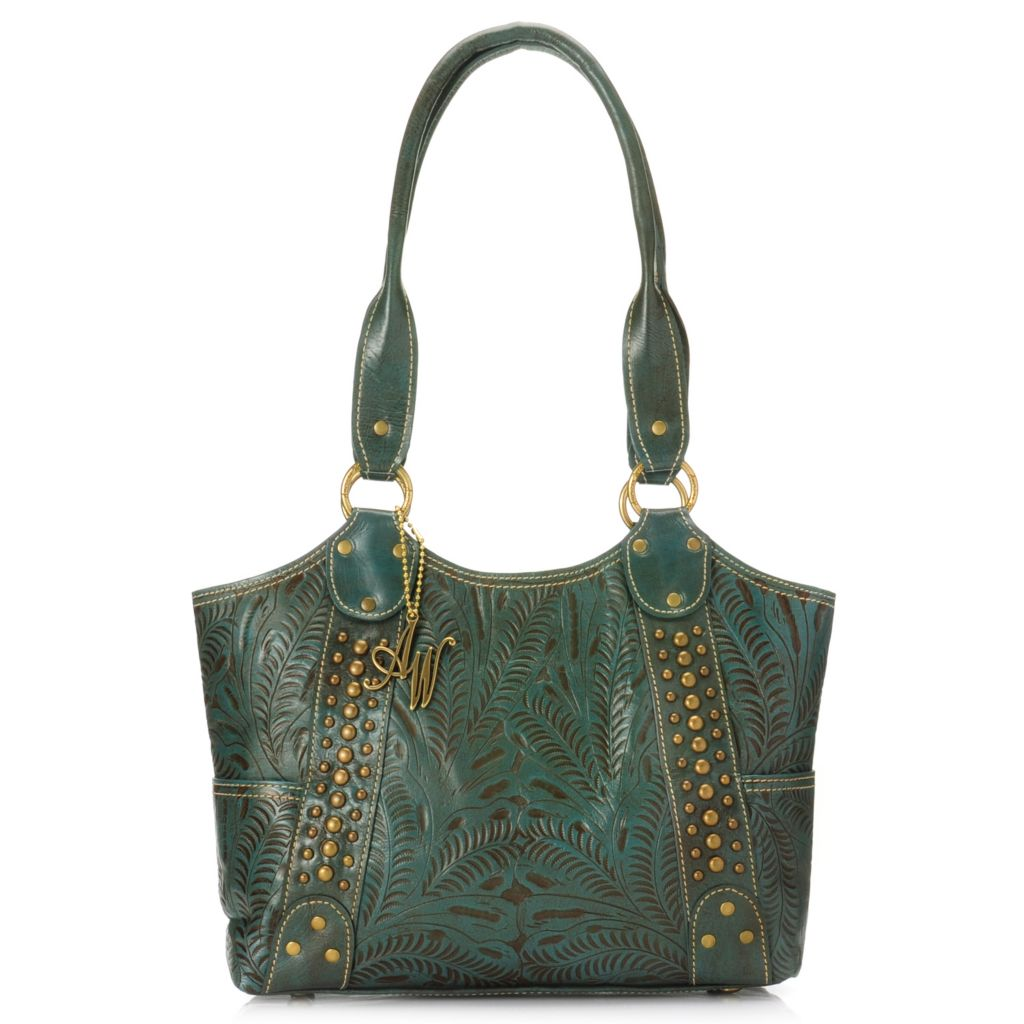 716-119 - American West Hand-Tooled Leather Zip Top Double Handle Tote Bag