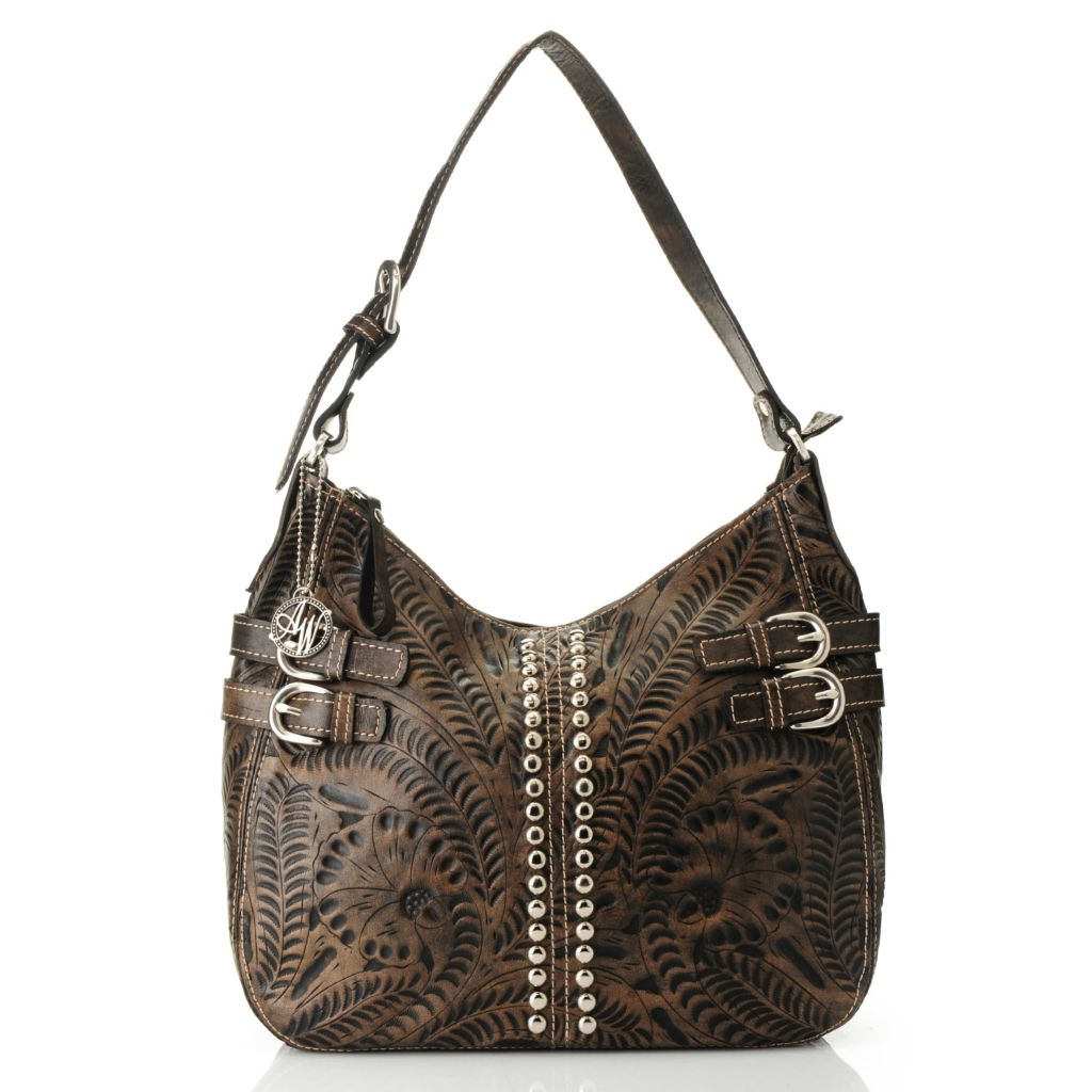 716-120 - American West Hand-Tooled Leather Zip Top Stud Detailed Hobo Handbag