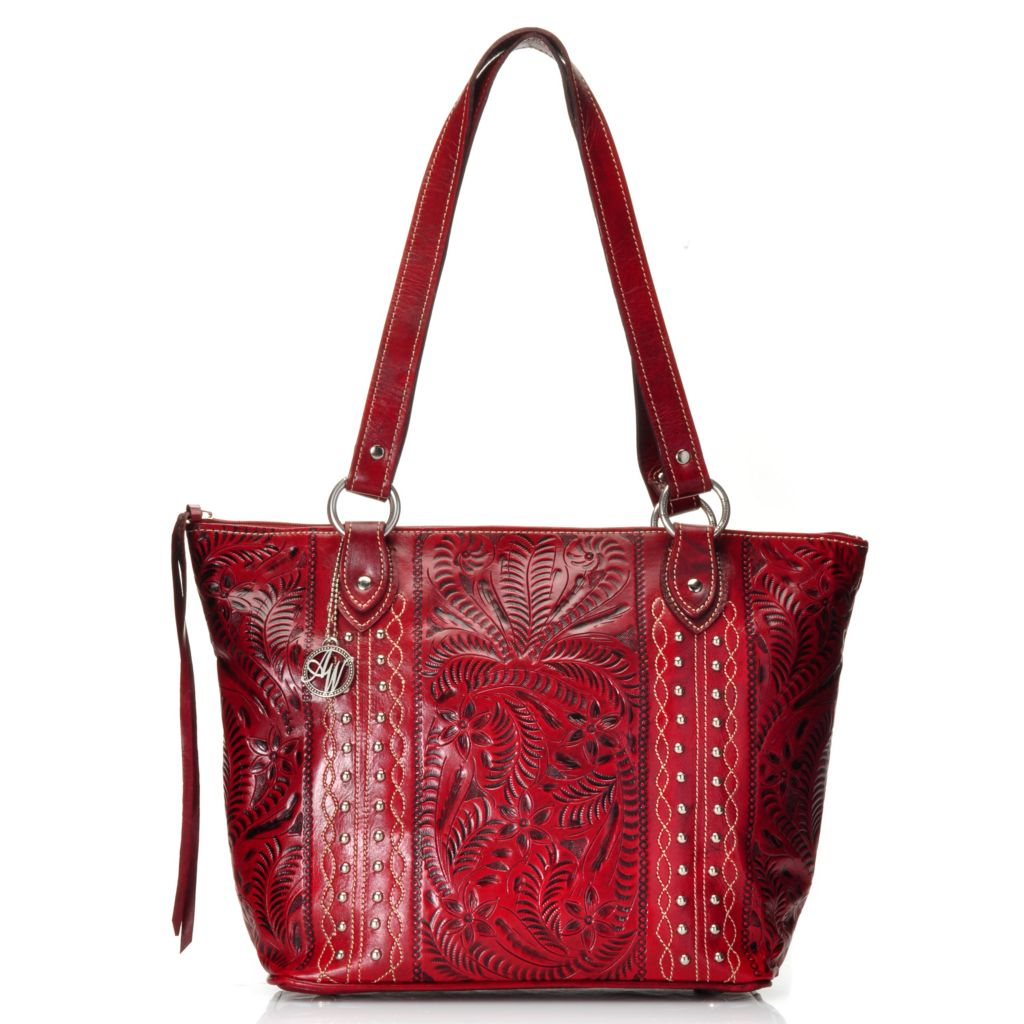 716-121 - American West Hand-Tooled Leather Zip Top Studded Bucket Tote Bag