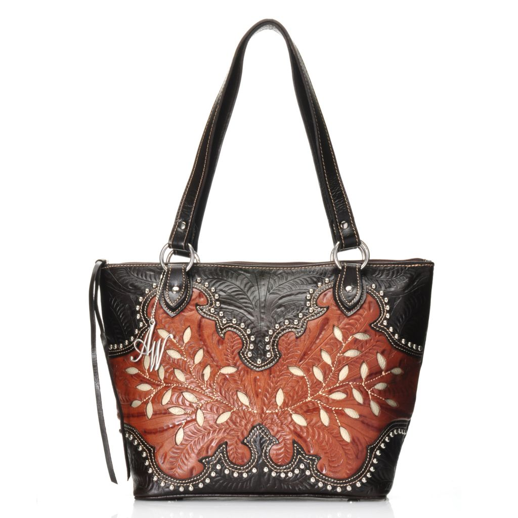 716-122 - American West Hand-Tooled Leather Studded Leaf Design Bucket Tote Bag
