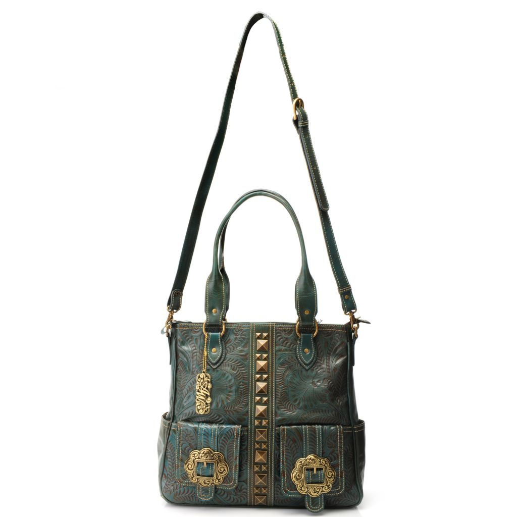 716-123 - American West Hand-Tooled Leather Studded Convertible Zip Top Tote Bag