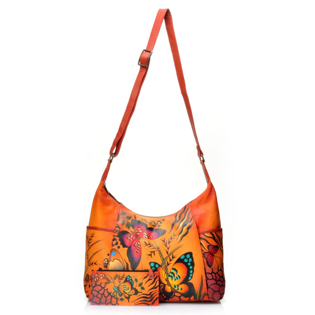 716-124 - Anuschka Hand-Painted Leather Zip Top Hobo Handbag w/ Credit Card Holder