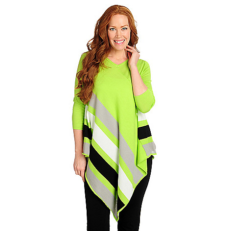 716-126 - Kate & Mallory® Cotton/Rayon Knit 3/4 Sleeved Asymmetrical Striped Tunic