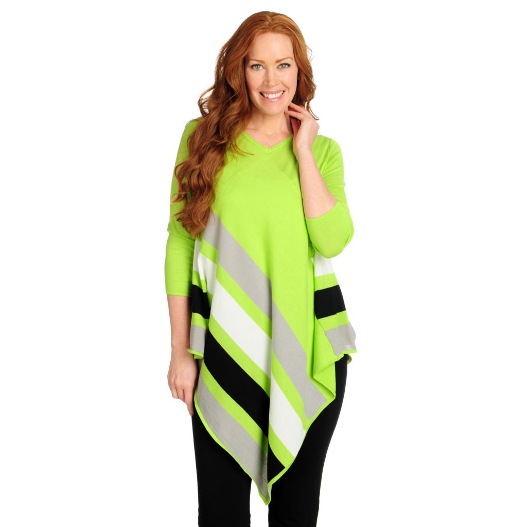 716-126 - Kate & Mallory Cotton/Rayon Knit 3/4 Sleeved Asymmetrical Striped Tunic