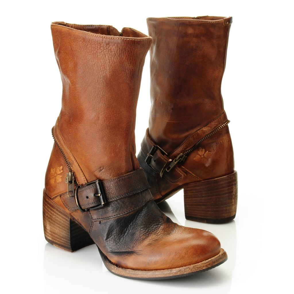 716-149 - Patricia Nash Distressed Leather Side Zip Belt & Buckle Detailed Mid-Calf Boots