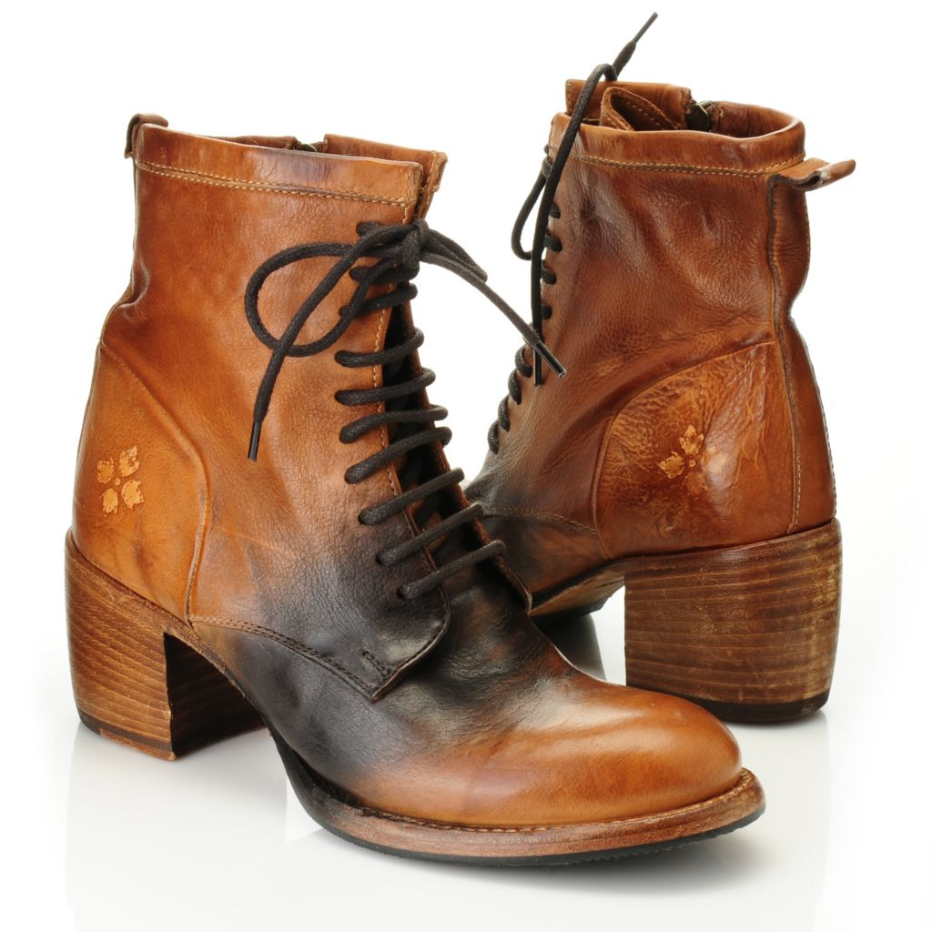 716-152 - Patricia Nash Distressed Leather Lace-up & Side Zip Ankle Boots