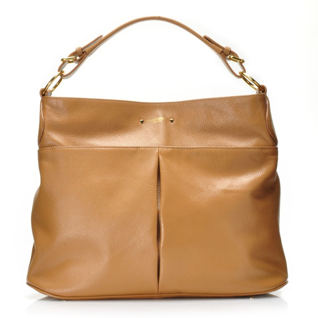 716-154 - Jack French London Grained Leather Magnetic Top Hobo Handbag
