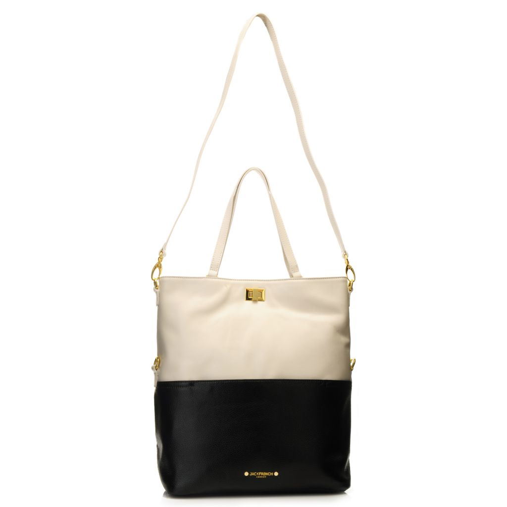 716-158 - Jack French London Grained & Smooth Leather Double Handle Fold-over Shopper Bag