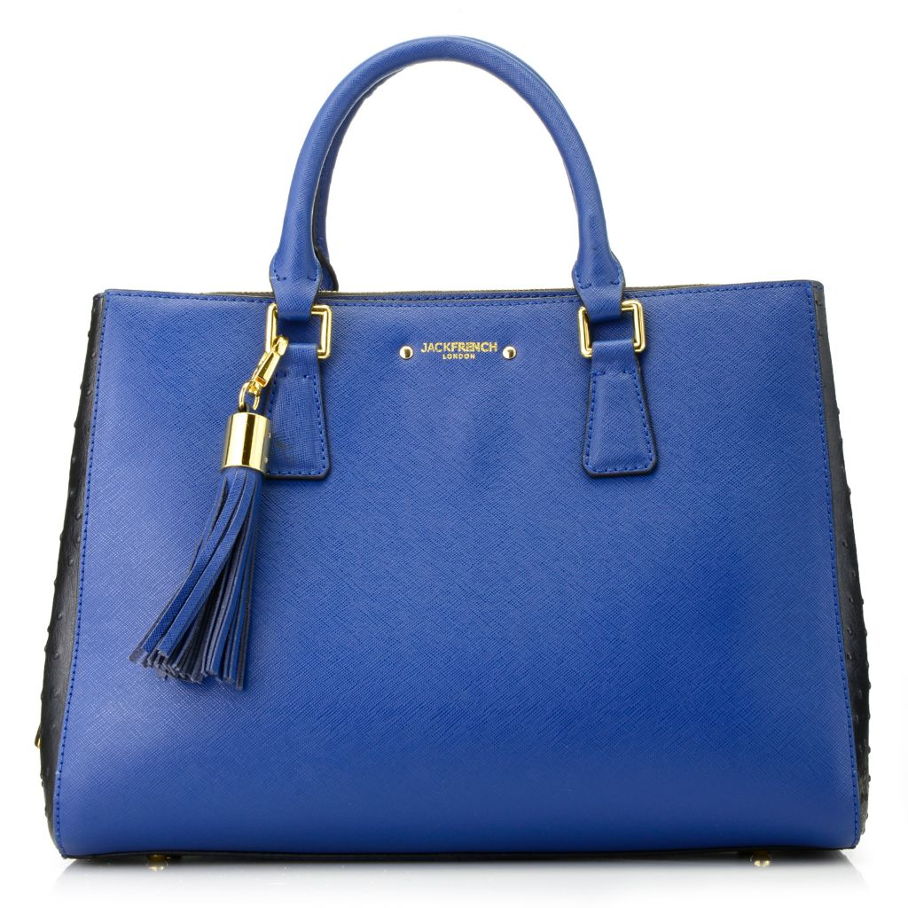 716-160 - Jack French London Saffiano & Ostrich Embossed Leather Double Handle Bag w/ Shoulder Strap