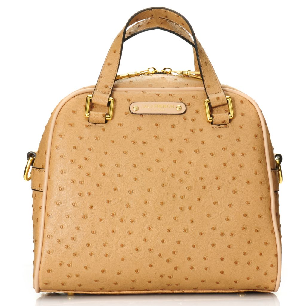 716-164 - Jack French London Ostrich Embossed Leather Double Handle Dome Satchel