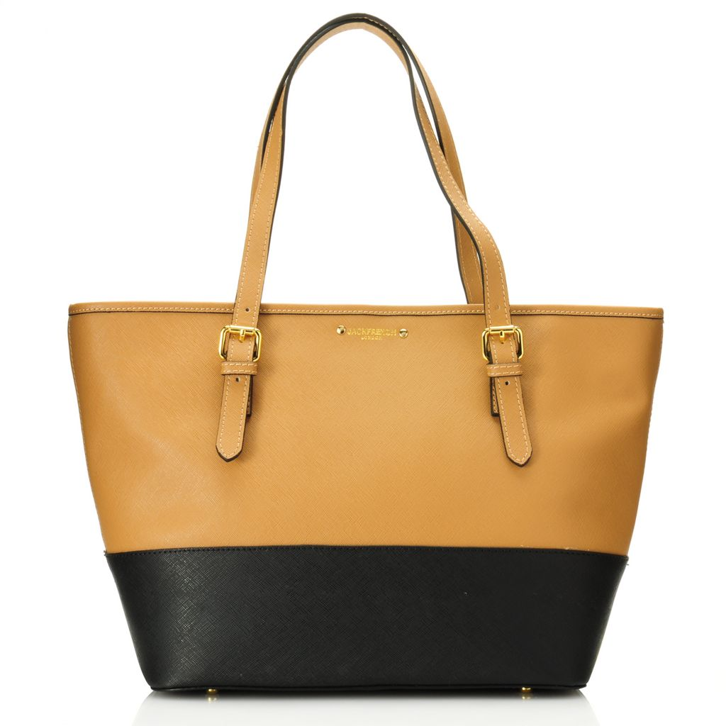 716-169 - Jack French London Saffiano Leather Double Handle Zipper Top Tote Bag