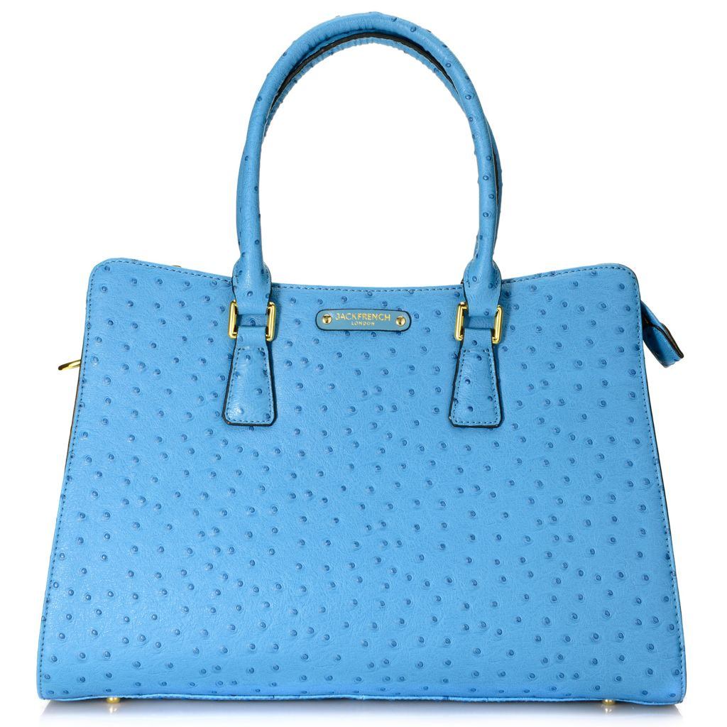 716-171 - Jack French London Ostrich Embossed Leather Double Handle Shopper Tote Bag w/ Strap
