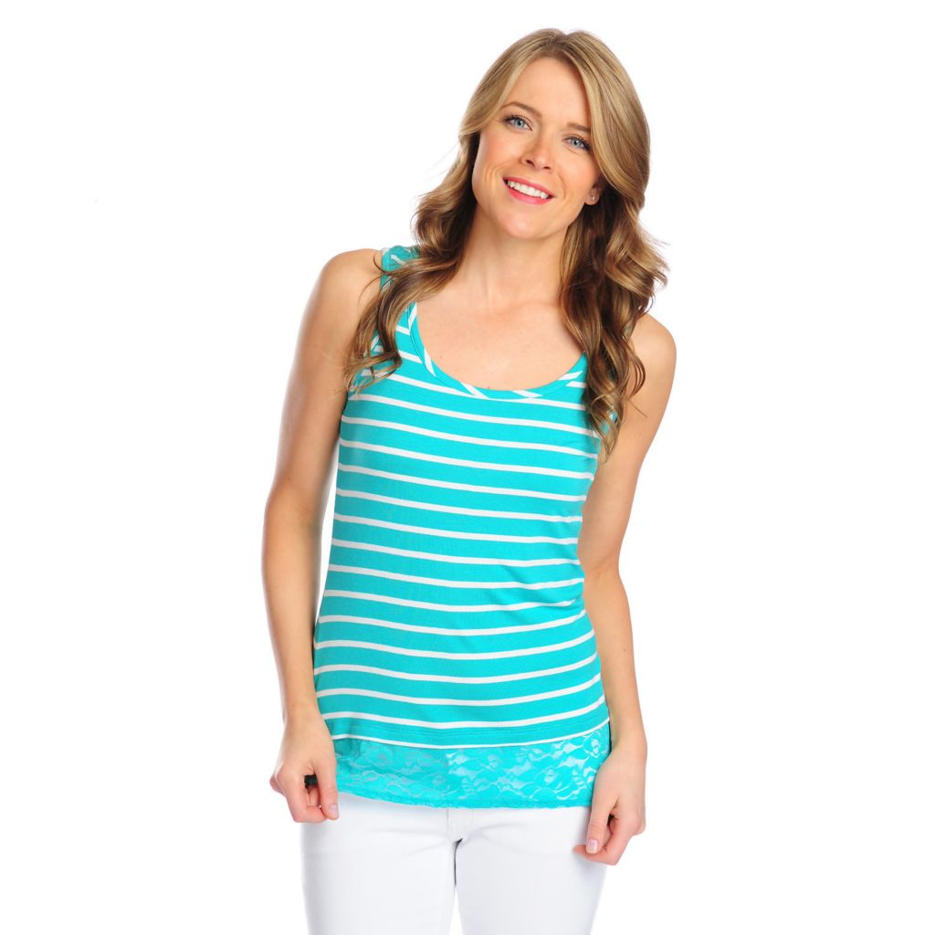 716-178 - OSO Casuals Stretch Knit Scoop Neck Lace Hem Striped Tank Top