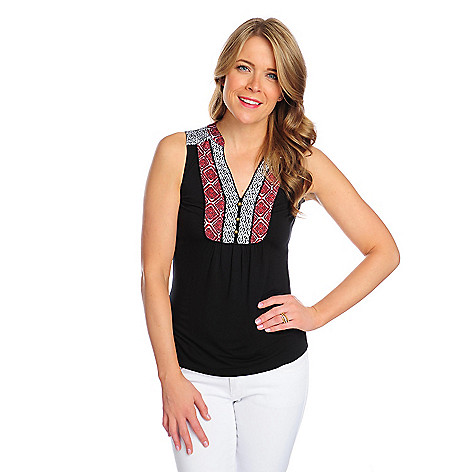 716-179 - OSO Casuals Stretch Knit Multi Print Button Detailed Henley Tank Top