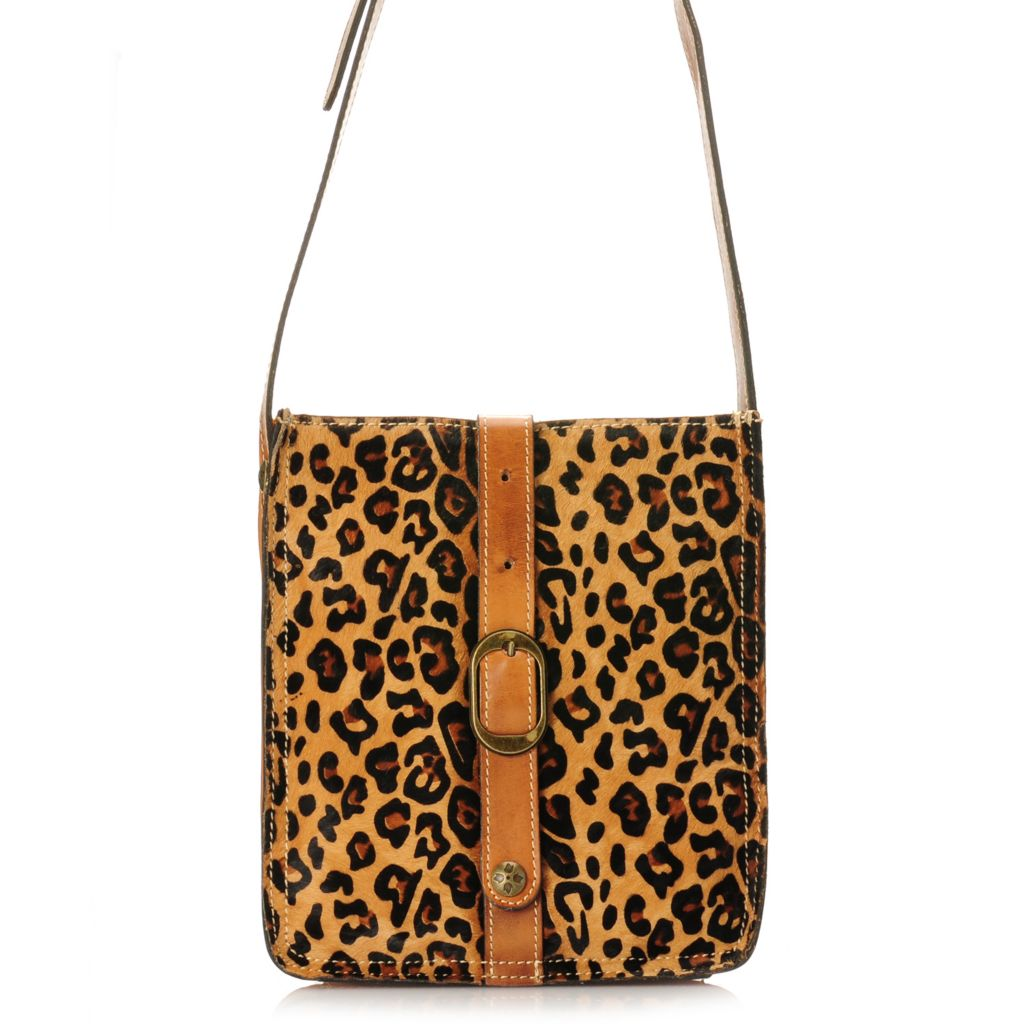 716-182 - Patricia Nash Leather & Zebra Printed Calf Hair Buckle Detailed Cross Body Bag