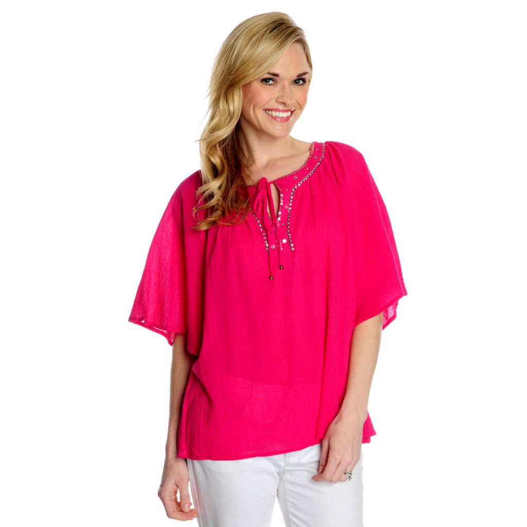 716-189 - OSO Casuals Cotton Gauze Kimono Sleeved Embellished Neck Solid Top