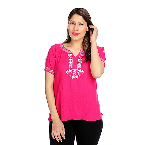 716-191 - OSO Casuals Cotton Gauze Short Sleeved Notch Neck Embroidered Top