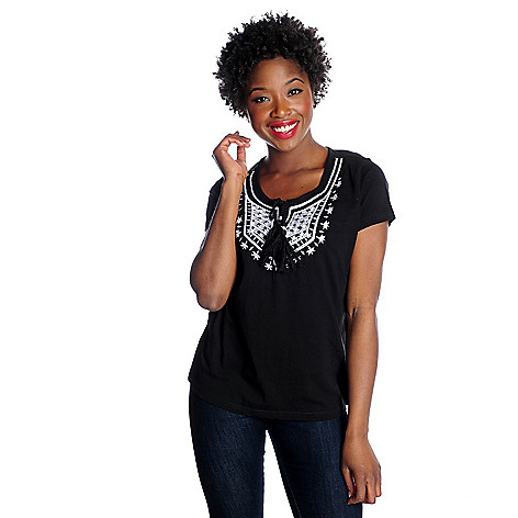 716-192 - OSO Casuals™ Stretch Knit Short Sleeved Embroidered Tie-Neck Top