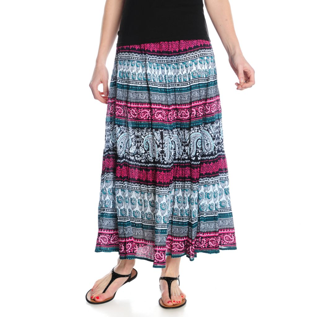 716-196 - OSO Casuals Cotton Gauze Elastic Waist Three-Tiered Printed Skirt