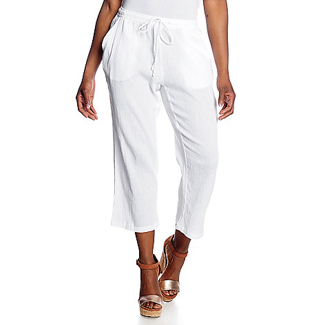 716-197 - OSO Casuals™ Cotton Gauze Drawstring Waist Cropped Pants