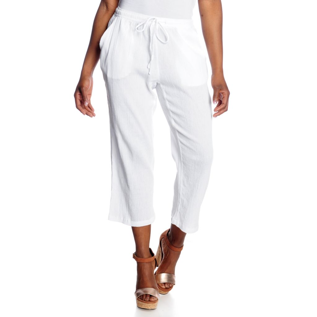 716-197 - OSO Casuals Cotton Gauze Drawstring Waist Cropped Pants