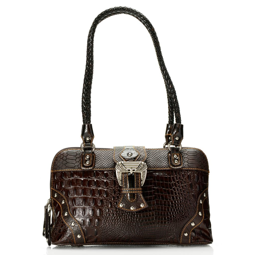 716-200 - Madi Claire Croco Embossed Leather Double Woven Handle Zip Around Satchel