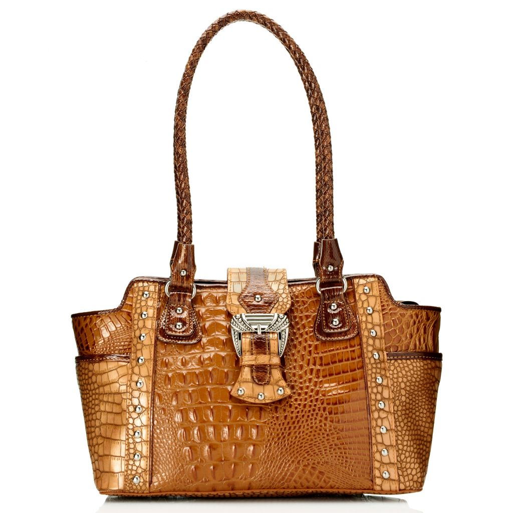 716-201 - Madi Claire Croco Embossed Leather Double Woven Handle East-West Satchel