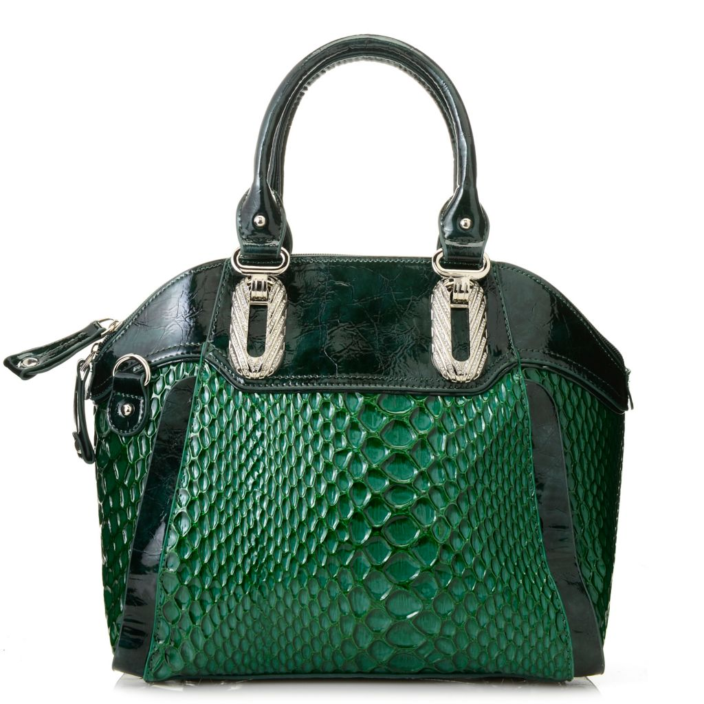 716-206 - Madi Claire Reptile Embossed Patent Leather Dome Satchel w/ Shoulder Strap