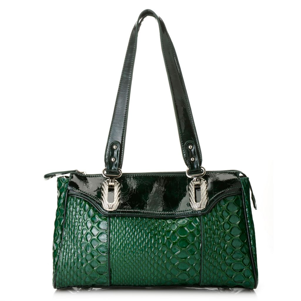 716-207 - Madi Claire Reptile Embossed Patent Leather Double Handle Zip Top Satchel