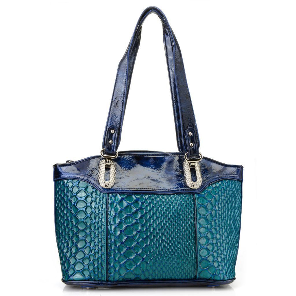 716-208 - Madi Claire Reptile Embossed Patent Leather Double Handle Shopper Tote Bag