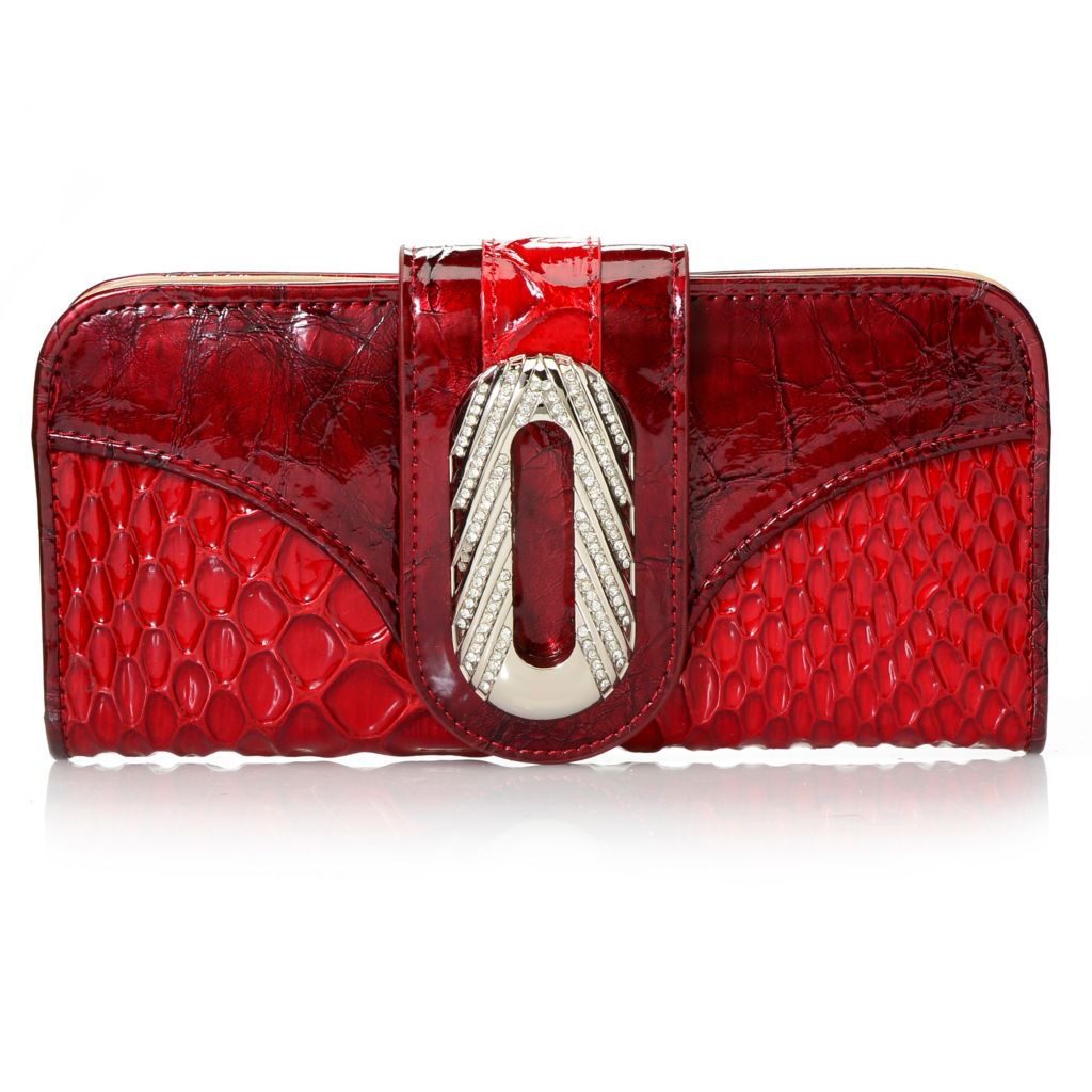 716-209 - Madi Claire Reptile Embossed Patent Leather Rhinestone Embellished Wallet