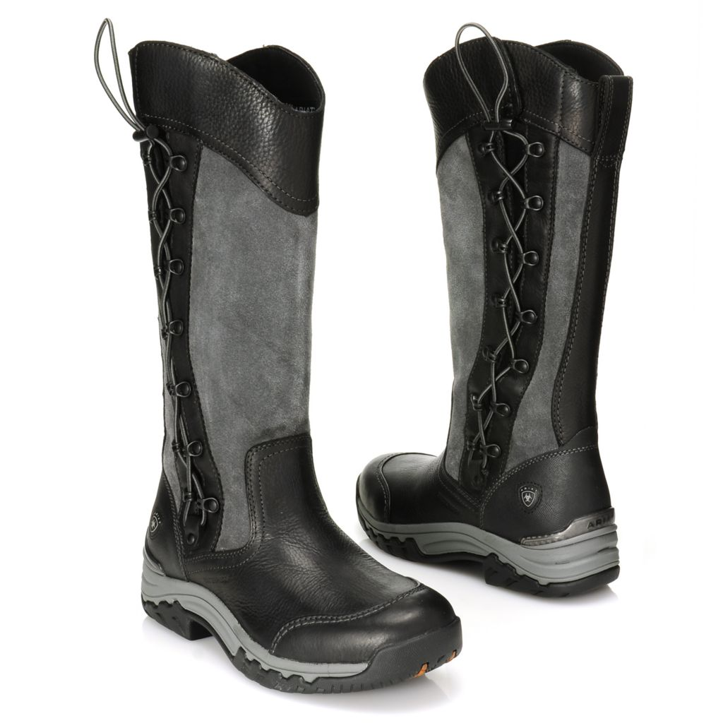 716-212 - Ariat® Waterproof Suede & Full Grain Leather Scalloped Lace-up Side Knee-High Boots