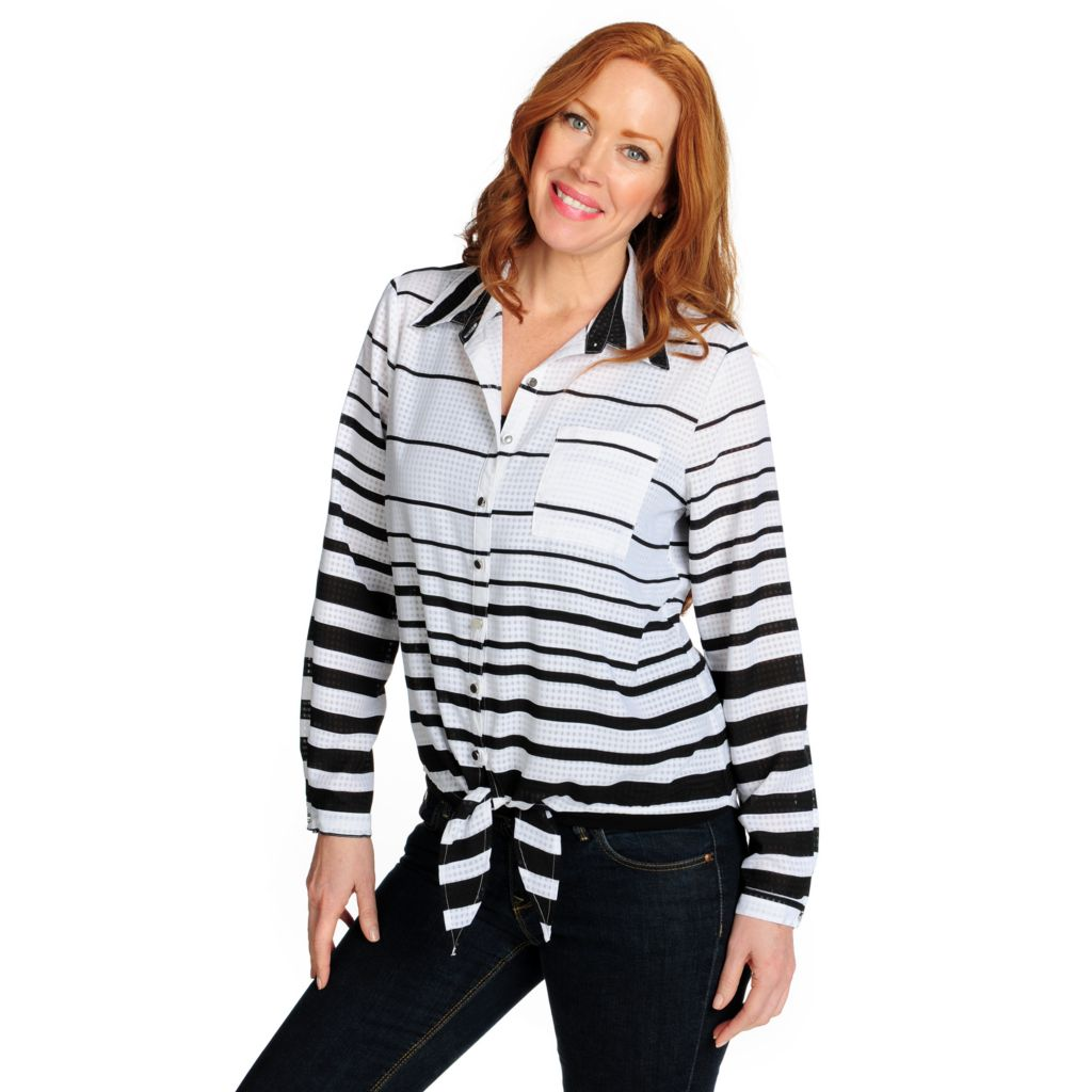 716-215 - Kate & Mallory Chiffon Long Sleeved Tie-Front Striped Top