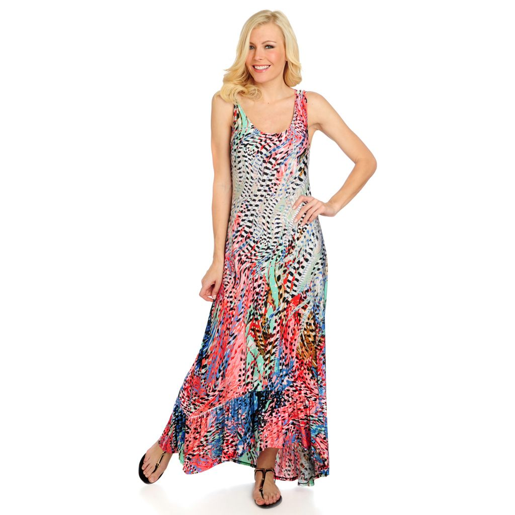 716-219 - Kate & Mallory Stretch Knit Sleeveless Printed Hi-Lo Maxi Dress