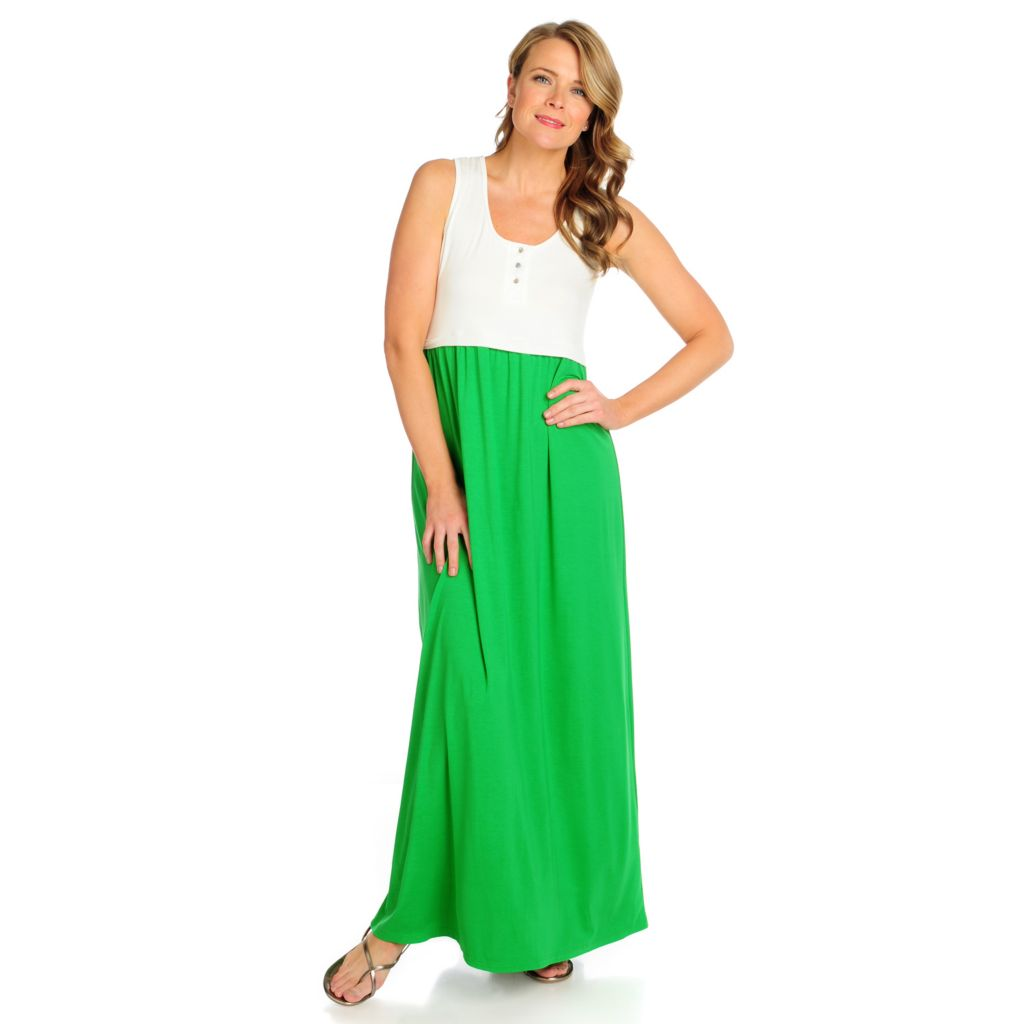 716-222 - Kate & Mallory Stretch Knit Sleeveless Color Blocked Maxi Dress