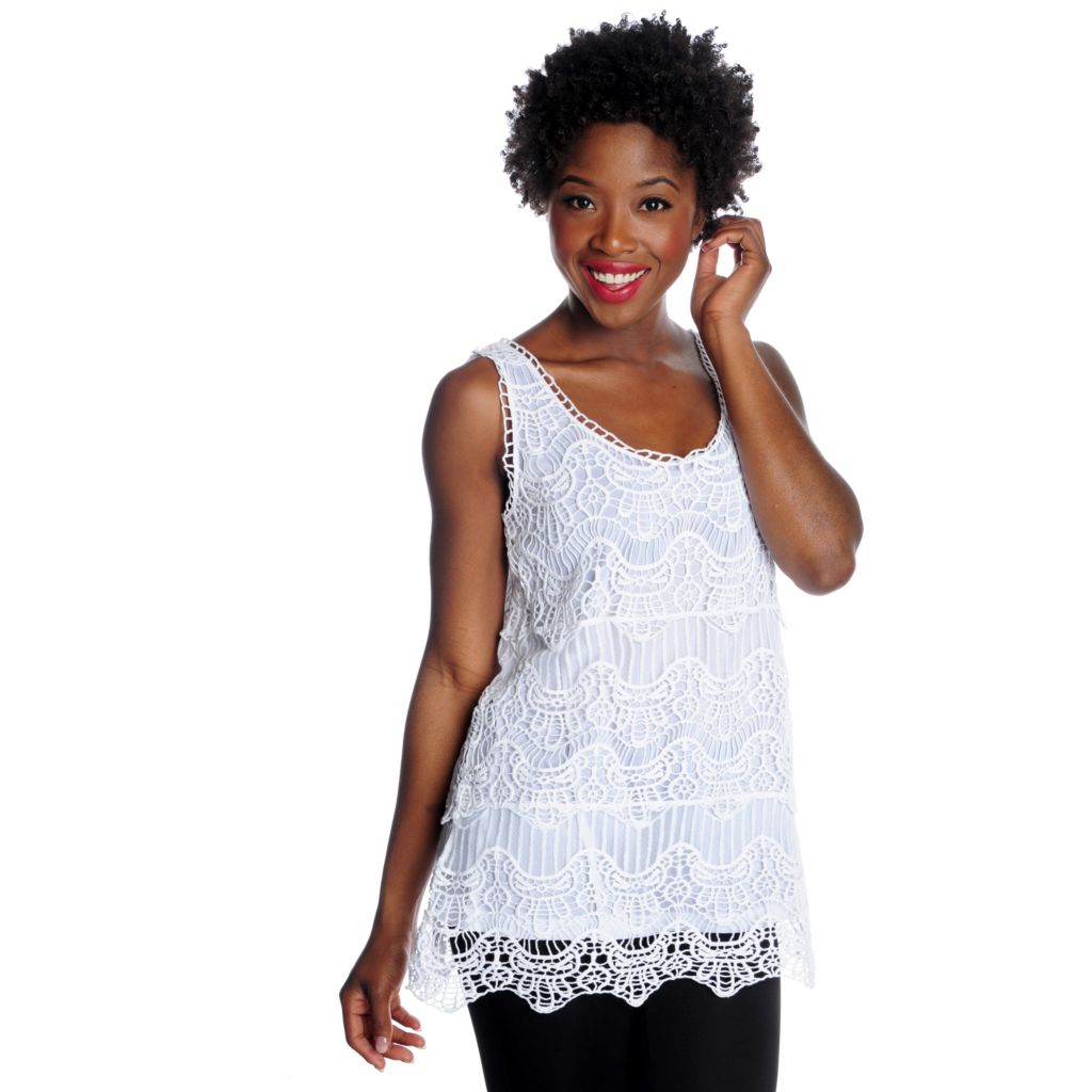 716-232 - OSO Casuals Crochet Scalloped Hem Fully Lined Tank Top
