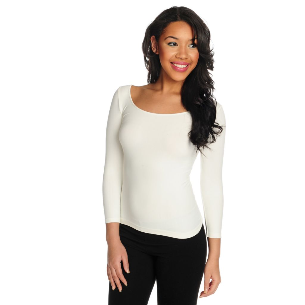 716-235 - Slim-A-Size Stretch Knit Everyday Control 3/4 Sleeved Scoop Neck Top