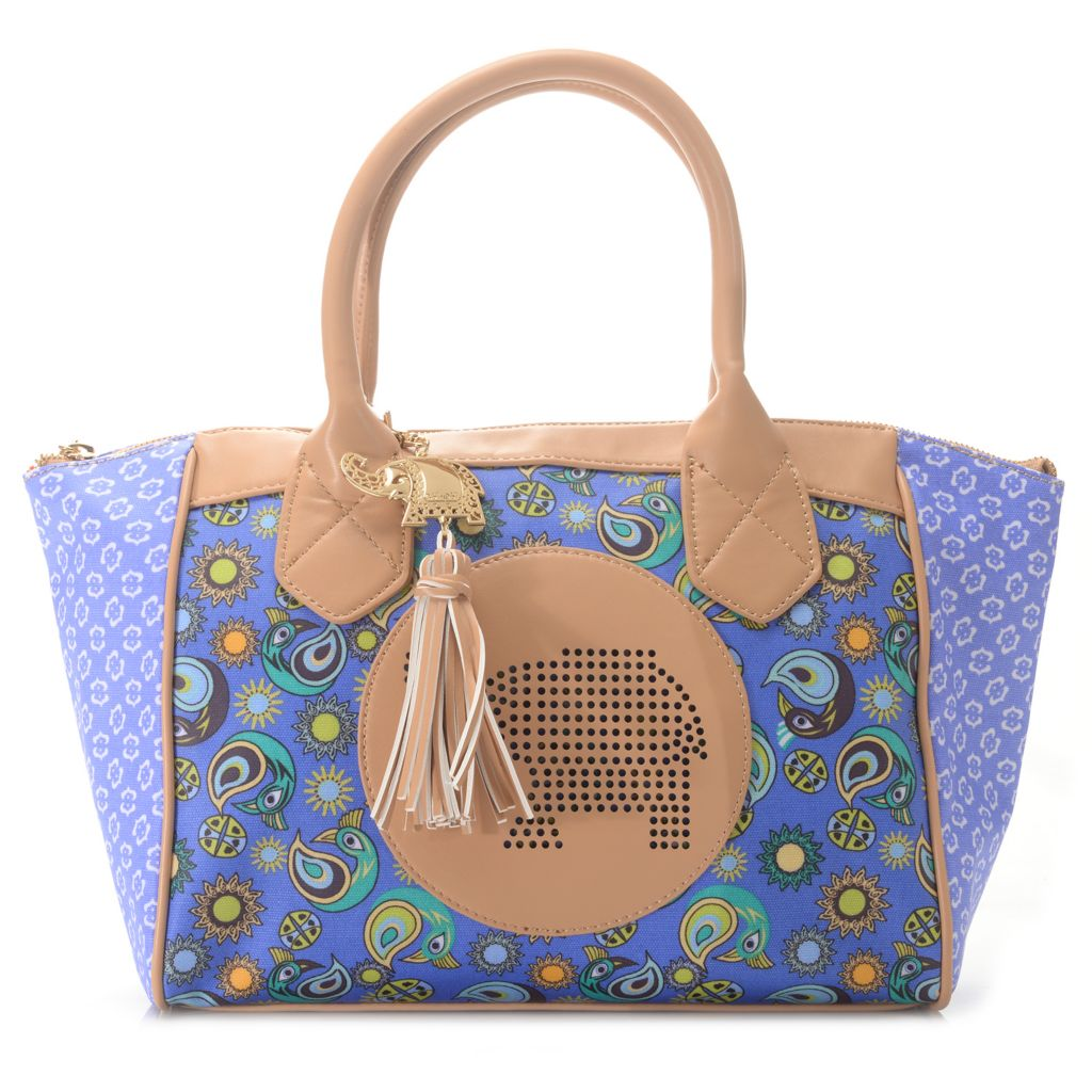 716-249 - BollyDoll™ Printed Coated Canvas Double Handle Zip Top Satchel w/ Shoulder Strap