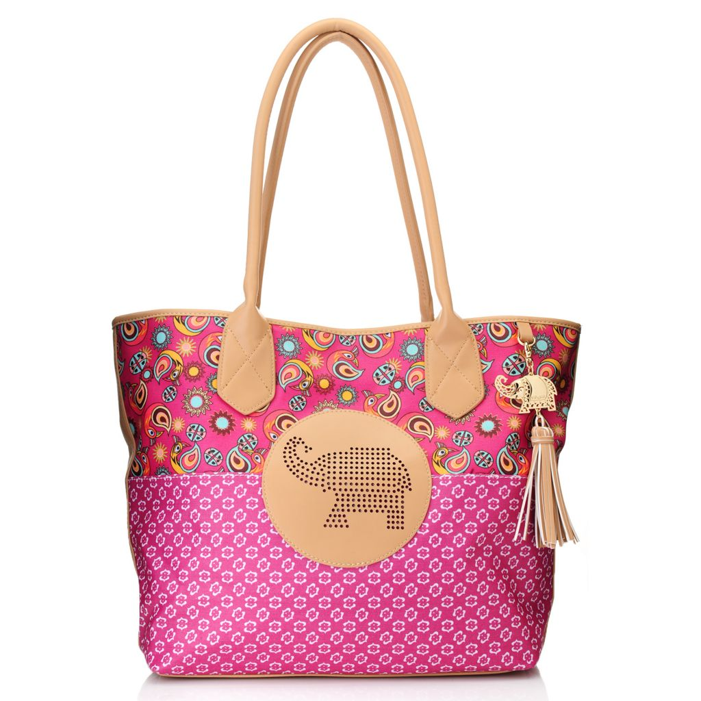 716-250 - BollyDoll™ Printed Coated Canvas Double Handle Elephant Patch Oversized Tote Bag