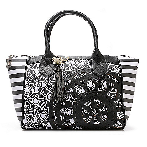 716-251 - BollyDoll™ Printed Coated Canvas Double Handle Flower Patch Satchel w/ Strap