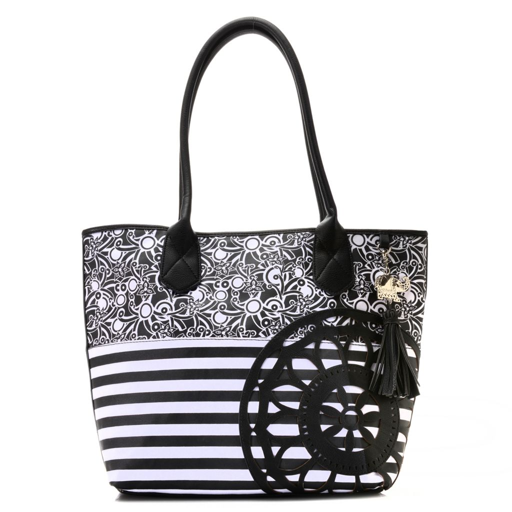 716-252 - BollyDoll™ Printed Coated Canvas Double Handle Flower Patch Oversized Tote Bag