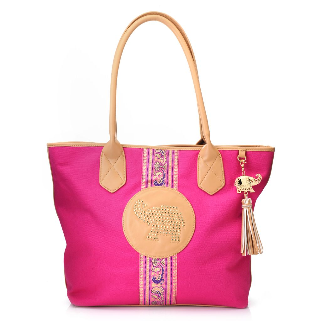 716-254 - BollyDoll™ Canvas Double Handle Ribbon & Studded Elephant Oversized Tote Bag