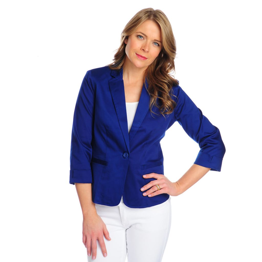 716-257 - OSO Casuals Woven 3/4 Sleeved Notch Collar One-Button Blazer